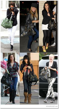 Ashley Tisdale, Fergie, Kourtney Kardashian, Adrienne Bailon, Vanessa Hudgens and Dakota Fanning carrying a Balenciaga Giant City Bag