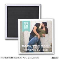 Save the Date Modern Rustic Photo Magnet