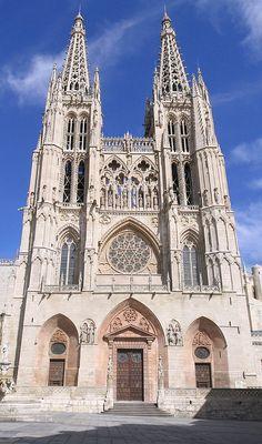 Spain. Burgos Gothic Cathedral facade