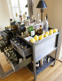 Upcycled wooden crates to make drinks trolley