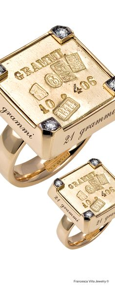 21 Grammi 406 - Ring in yellow gold, diamonds and a vintage Italian weight