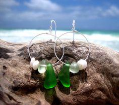 Hawaiian Emerald Green & Light Aqua Beach Glass with Authentic Puka Shells on 925 Sterling Silver Circular Wire Small Hoop Earrings by LindseysBeachGlass, $58.00