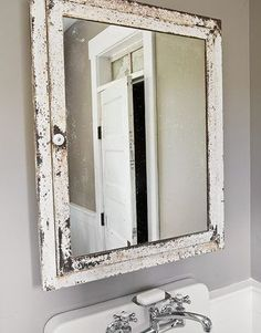 vintage white bathroom mirror