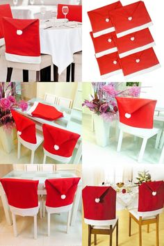 Visit To Buy Fashion Santa Clause Cap Red Hat Furniture Chair Back Cover Christmas