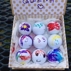 Custom golf balls for dad (or any golfer)... Recycled (let\'s not get crazy with brand new bc those things are expensive) golf balls from Target by kid with sharpies!!!