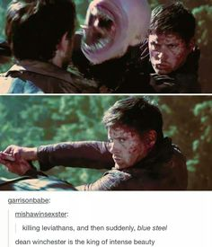 Dean, in a nutshell. It just needs a goofy face and something about pie and you've got everything Dean. Lol