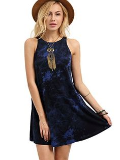 ROMWE Womens Summer Casual Sleeveless Cotton TShirt Loose Dress Navy L -- For more information, visit image link.