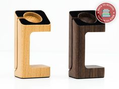 Natural-Wood Apple Watch Charging Stand