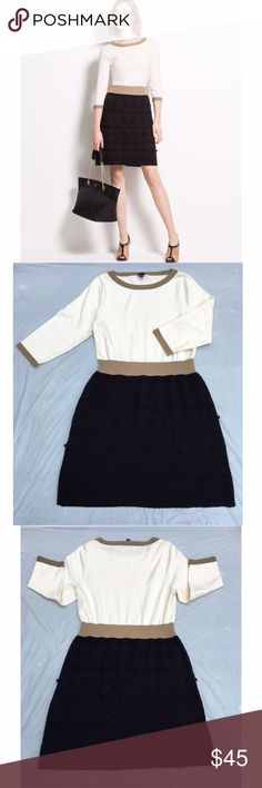 """Ann Taylor color block embroidered sweater dress Beautiful dress in perfect and pristine condition! Perfect for fall. 100% cotton. 3/4 length sleeves. Approx 40"""" bust, 34"""" waist, 39"""" length. ✅offers❌trades/PP bundles save 20% off 2+ Ann Taylor Dresses"""