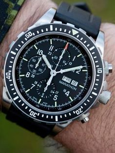 Marathon CSAR Chronograph features the iconic Swiss Made Valjoux 7750 automatic movement, a sapphire crystal, 316L stainless steel case, uni-directional diver's bezel, and tritium tube constant illumination.