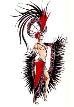 Ruby Jubilee showgirl costume sketch by Bob Mackie Showgirl Costume, Vegas Showgirl, Girl Costumes, Dance Costumes, Moulan Rouge, Moulin Rouge Costumes, Katy Perry Dress, Vegas Tattoo, Old Hollywood Movies