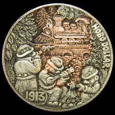 Hobo Nickel style silver dollar 'Band of Yeggs' by Lou Acker 1978 silver dollar (carved date added for aesthetics)