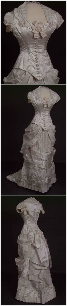 Wedding dress (bodice and skirt), 1878, Norwegian Folk Museum, via DigitaltMuseum. Photos: Reinsfelt, Anne-Lise / Norwegian Folk Museum. (See link: http://digitaltmuseum.no/011023178214?query=kjole&type_filter=Thing&page=8&pos=171&count=4183) Draped, ruched, pleated silk gown, ribbon rosette, buttons covered with cloth, hand-sewn button-holes.