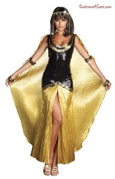 This exquisite sequin gown has a gold pleated satin skirt and Egyptian designed sequin trim detail. It's simply mezmerizing! There is also an attached gold pleated cape to let everyone know you are the pharoah. This sexy costume also has four attached Egyptian designed sequined arm bands and head piece with cascading rhinestones.