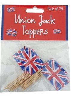 PURCHASED: Great British Street Party Theme - Union Jack Flag Sandwich/Cake Picks x 24 £1.76