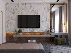 Modern style Bedroom on Behance unit design modern bedroom Bedroom Tv Unit Design, Tv Unit Bedroom, Tv Wall Design, Modern Bedroom Design, Contemporary Bedroom, Dispositions Chambre, Salons Cosy, Sala Grande, Big Bedrooms