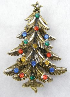 Art Christmas Tree Brooch - Garden Party Collection Vintage Jewelry