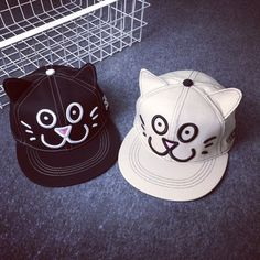 Cute Cat Face Embroidery and Ear Shape Embellished Baseball Cap For Women Cute Cat Face, Kawaii Cat, Hat Shop, Hat Hairstyles, Caps For Women, Cute Woman, Snapback Hats, Embroidery