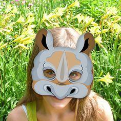 Rhino Printable Mask Gray Rhinoceros DIY Animal by LMEprintables