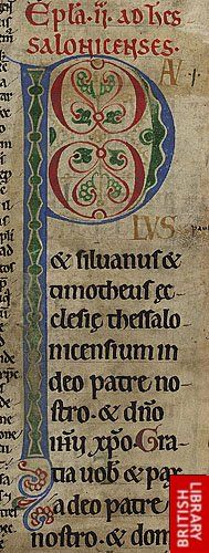 Detail of Illuminated Script, decorated initial 'P'(aulus), from a fragment of a copy of 1 Thessalonians. Origin:England (or France? Medieval Manuscript, Medieval Art, Medieval Fantasy, Illuminated Letters, Illuminated Manuscript, Illumination Art, Book Of Hours, Historical Art, Modern Artwork