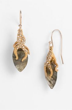 Alexis Bittar 'Elements' Vine Capped Earrings available Sophisticated earrings feature sparkling marquise stones captivated by crystal-encrusted vines.  Labradorite/Swarovski crystals/18k gold-plated base metal/14k gold-filled ear wire.