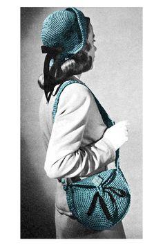 Vintage 1940s Crocheted Shoulder Messenger Bag Purse Cloche Hat Crochet Pattern PDF. $3.50, via Etsy.