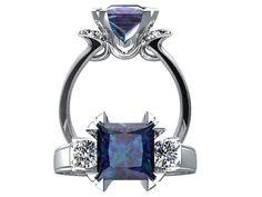 Princess Cut Alexandrite Ring 14k White Gold Engagement Ring Fashion Ring Three Stone Ring Wedding Ring Diamond Ring SW16A14W