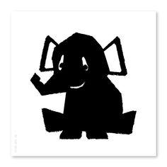 Poster Olifant zwart-wit  21x21cm via www.HippeKidsKamer.nl