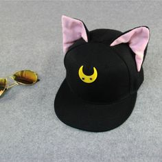 2016 Brand Hip Hop Women Snapback Cap With Ears Cute Baseball Cap For Women  Black Butterfly 4c391d93879