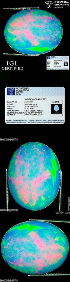 Other Opals 3826: 9.22 Ct Igi Certified Natural Ethiopian Opal Gemstone Oval Cabochon Cut -> BUY IT NOW ONLY: $1109.99 on eBay!