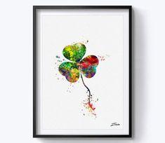 clover art print watercolor clover poster print art by ZenioArt