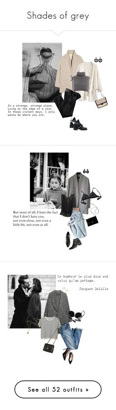 """""""Shades of grey"""" by tasteofbliss ❤ liked on Polyvore featuring Vanessa Bruno Athé, Chicwish, Balenciaga, AG Adriano Goldschmied, Chanel, Hermès, Isabel Marant, Eres, Givenchy and Kenneth Jay Lane"""