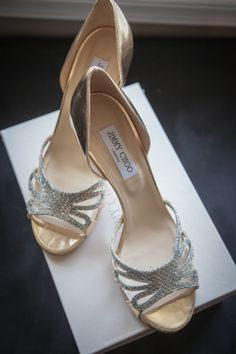 sparkly shoes for the bride | Photo: Ten 2 Ten Photography, Shoes: Jimmy Choo