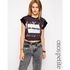 ASOS PETITE Cropped Boyfriend T-Shirt with One Direction Print ($13) ❤ liked on Polyvore featuring tops, t-shirts, black, boyfriend tee, print tees, print t shirts, boyfriend t shirt and relax t shirt