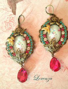 Pink crystal swarovski earrings  by lorenza33 on Etsy