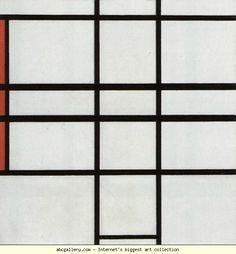 Piet Mondrian. Composition with Red / Compositie met rood. Olga's Gallery.