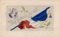 Ma Pensee Te Suit: Ww1 Embroidered Patriotic Silk Postcard • EUR 3,48 • Embroidered patriotic greetings silk postcard from the First World War with the French flag. Soie. Brodee.
