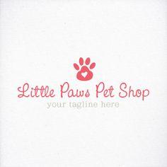 Business Logo Pet Shop Logo with Dog / Cat Paw Print by LogoLove, $7.00