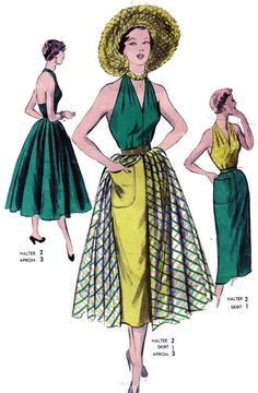 Source by Kleider Fifties Fashion, Retro Fashion, High Fashion, Vintage Dress Patterns, Dress Sewing Patterns, Apron Patterns, 1950s Style, Vintage Outfits, Vintage Dresses