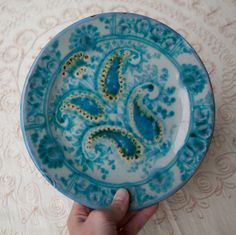 Items similar to Decorative hand painted plate on Etsy Sharpie Projects, Hand Painted Plates, My Birthstone, Turquoise Stone, Paisley Print, To My Daughter, Clever, Blues, Aqua