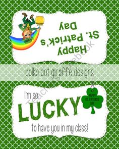 St. Patricks Day Bag Topper product from Polka-Dot-Giraffe on TeachersNotebook.com