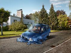 surreal scenes show melting cars disappear into suburban streets Graffiti Tattoo, Collage, Computer Art, Fantasy World, Photo Illustration, Photo Manipulation, Creative Photography, Creative Art, Cool Photos