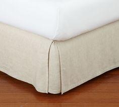 Belgian Flax Linen Bed Skirt with Side Pleats | Pottery Barn Black Bed Linen, Natural Bedding, Bed Linen Design, Simple Bed, Bedding Sets Online, Diy Bed, Cool Beds, Linen Bedding, Bed Linens