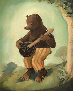 "Boris Plays the Mandolin Print 8x10. LOVE the art made by ""theblackapple"" on Etsy.com"