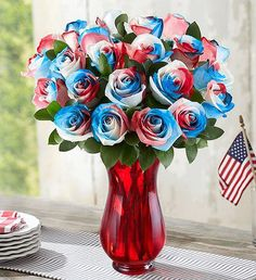 Celebrate your pride with red, white and blue roses. Each bloom in our patriotic bouquet is specially color-enhanced, so that no two are exactly alike. Send our Kaleidoscope Roses to honor a hero, light up the 4th of July or celebrate the USA. Summer Flowers To Plant, Planting Flowers, Blue Roses, Summer Wreath, Fourth Of July, Summer Fun, Summertime, Pride, Bouquet