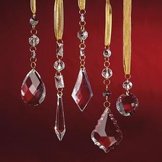 Crystal Droplets with Gold Hangers, Set of 24