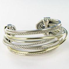 David Yurman Wide Crossover Cuff Bracelet 10 Row Sterling Silver 14k Gold $2950