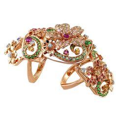 diamond full finger rings | ... / Fashion Rings / Pink Gold Diamond and Gemstone Full Finger Ring