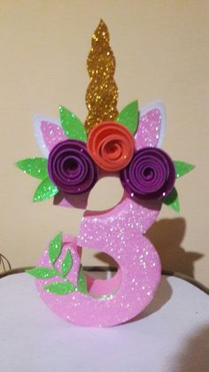 Unicorn birthday number decoration for little girl's birthday party