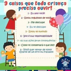 9 coisas que toda criança precisa ouvir. Organize Life, Baby Kids, Baby Boy, Au Pair, Emotional Intelligence, Kids Education, Future Baby, Kids And Parenting, Diy For Kids